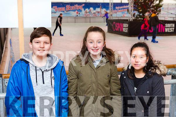 Taylor Mangan, Keelyn O'Leary and Ooma Whieldon Killarney at the Killarney on Ice Skating ring on Saturday