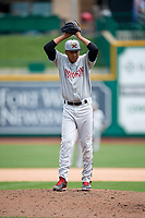 Wisconsin Timber Rattlers relief pitcher Nattino Diplan (33) gets ready to deliver a pitch during a game against the Fort Wayne TinCaps on May 10, 2017 at Parkview Field in Fort Wayne, Indiana.  Fort Wayne defeated Wisconsin 3-2.  (Mike Janes/Four Seam Images)