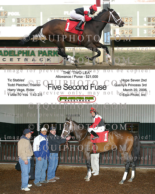 Five Second Fuse winning at Philadelphia Park.  Photo By EQUI-PHOTO