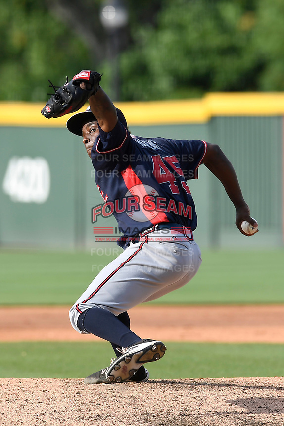 Pitcher Bladimir Matos (45) of the Rome Braves delivers a pitch in game one of a doubleheader against the Greenville Drive on Tuesday, May 30, 2017, at Fluor Field at the West End in Greenville, South Carolina. Rome won, 10-7. (Tom Priddy/Four Seam Images)