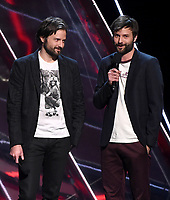 LOS ANGELES - DECEMBER 6: Presenters Matt Duffer and Ross Duffer appear onstage at the 2018 Game Awards at the Microsoft Theater on December 6, 2018 in Los Angeles, California. (Photo by Frank Micelotta/PictureGroup)