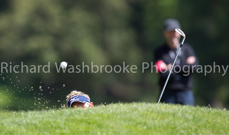Luke Donald (ENG) 6th bunker<br /> BMW PGA Championship 2014  Wentworth  25th May 2014<br /> Photo: Richard Washbrooke Sports Photography<br /> <br /> BMW PGA Championship 2014  Wentworth  25th May 2014<br /> Photo: Richard Washbrooke Sports Photography