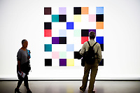 Illustration Ambiance / Ellsworth Kelly - Touches de Pinceau coupees en 49 carres disposes au hazard<br /> Parigi 16-10-2017 MoMa <br /> Esposizione Arte moderna <br /> Foto JB Autissier / Panoramic / Insidefoto