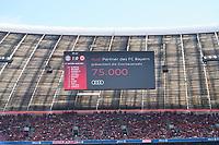Anzeigetafel, Screen, Screenboard, digital, LED, Anzeige, 75000 Zuschauer, ausverkauft, stadium, Footballstadium, Tribuenen, <br /> FC BAYERN MUENCHEN - EINTRACHT FRANKFURT 4-1<br /> Football 1. Bundesliga , Muenchen,28.04.2018, 32. match day,  2017/2018, , FRA<br />  *** Local Caption *** © pixathlon<br /> Contact: +49-40-22 63 02 60 , info@pixathlon.de