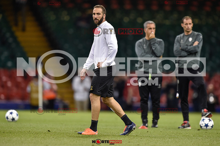 Gonzalo Higuain of Juventus during the training session ahead the UEFA Champions League Final between Real Madrid and Juventus at the National Stadium of Wales, Cardiff, Wales on 2 June 2017. Photo by Giuseppe Maffia.<br /> Giuseppe Maffia/UK Sports Pics Ltd/Alterphotos /NortePhoto.com