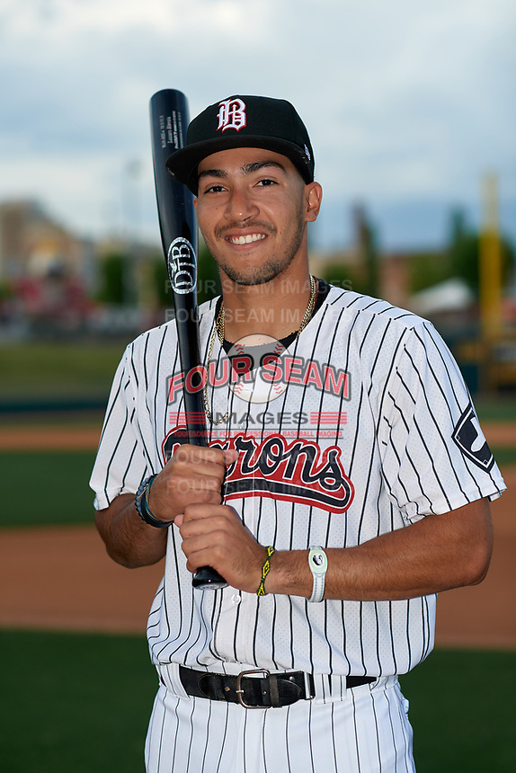 Birmingham Barons Laz Rivera (5) poses for a photo before a Southern League game against the Chattanooga Lookouts on May 1, 2019 at Regions Field in Birmingham, Alabama.  Chattanooga defeated Birmingham 5-0.  (Mike Janes/Four Seam Images)