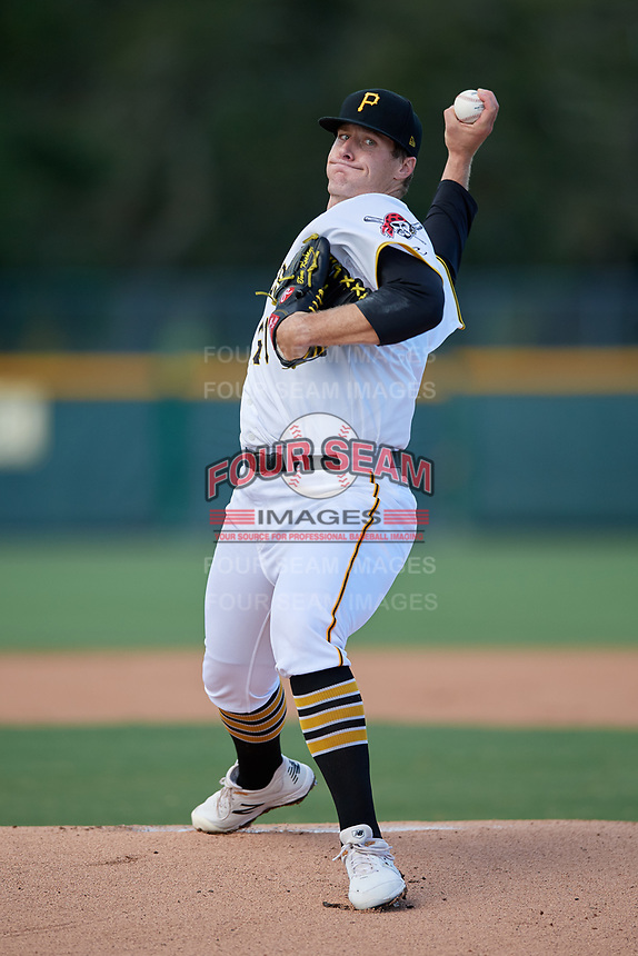Pitcher Tom Koehler (61), on rehab assignment with the GCL Pirates, during a Gulf Coast League game against the GCL Twins on August 6, 2019 at Pirate City in Bradenton, Florida.  GCL Twins defeated the GCL Pirates 4-2 in the first game of a doubleheader.  (Mike Janes/Four Seam Images)