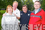HERO: Tralee locals were delighted to meet Packie Bonner.in Tralee town park on Friday as part of the FAI tour.of Kerry. From l-r were: Michelle Kennedy, Micheal Fox.Connor, Packie Bonner and John OShea.