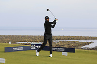 Johnathan Joseph (AM) on the 12th tee during Round 3 of the 2015 Alfred Dunhill Links Championship at Kingsbarns in Scotland on 3/10/15.<br /> Picture: Thos Caffrey | Golffile