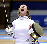 DURHAM, NC - FEBRUARY 25: Notre Dame's Amanda Sirico (center) reacts after winning the Women's Epee championship match against Duke's Rita Somogyi (behind). The Atlantic Coast Conference Fencing Championships were held on February, 25, 2017, at Cameron Indoor Stadium in Durham, NC.