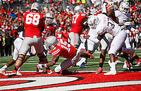Ohio State Buckeyes running back Ezekiel Elliott (15) scores a touchdown in the second quarter of the college football game between the Ohio State Buckeyes and the Maryland Terrapins at Ohio Stadium in Columbus, Saturday afternoon, October 10, 2015. As of half time the Ohio State Buckeyes led the Maryland Terrapins 21 - 14. (The Columbus Dispatch / Eamon Queeney)