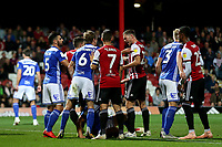 A Birmingham City player falls to the ground after another skirmish during Brentford vs Birmingham City, Sky Bet EFL Championship Football at Griffin Park on 2nd October 2018