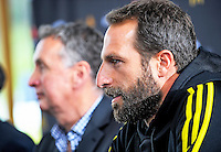 Andrew Durante reflects as coach Ernie Merrick discusses his resignation from the Wellington Phoenix club at Newtown Park in Wellington, New Zealand on Tuesday, 6 December 2016. Photo: Dave Lintott / lintottphoto.co.nz