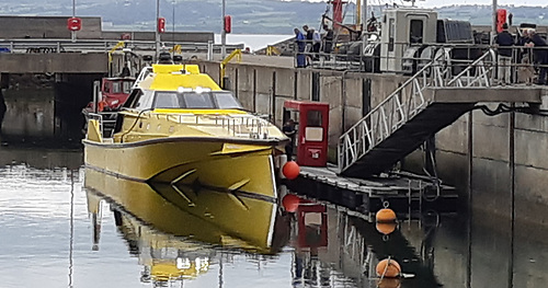 Thunderchild II along side at Bangor Marina on Belfast Lough