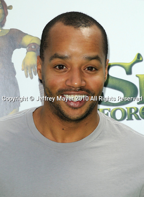 """UNIVERSAL CITY, CA. - May 16: Donald Faison arrives at the """"Shrek Forever After"""" Los Angeles Premiere at Gibson Amphitheatre on May 16, 2010 in Universal City, California."""