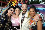 From left: Jan and Carisa Karwowski with Cavan Leerkamp and Lee Jackson at the 2010 Art Car Ball at the Orange Show Monument & Warehouse Thursday May 06,2010.  (Dave Rossman Photo)