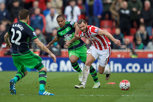 02.04.2016. Britannia Stadium, Stoke, England. Barclays Premier League. Stoke City versus Swansea City.  Stoke City defender Erik Pieters and Swansea City defender Angel Rangel.