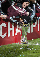 21 November 2010: Colorado Rapids defender Kosuke Kimura #27 shows us how much he likes winning the MLS Cup during the winning ceremonies of  2010 MLS CUP between the Colorado Rapids and FC Dallas at BMO Field in Toronto, Ontario Canada..The Colorado Rapids won 2-1 in extra time....