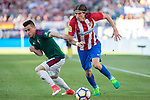 Alex Berenguer of Club Atletico Osasuna competes for the ball with Filipe Luis of Atletico de Madrid during the match of La Liga between  Atletico de Madrid and Club Atletico Osasuna at Vicente Calderon  Stadium  in Madrid, Spain. April 15, 2017. (ALTERPHOTOS / Rodrigo Jimenez)