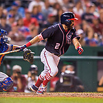 28 April 2017: Washington Nationals outfielder Adam Eaton hits an infield single to short in the 9th inning against the New York Mets at Nationals Park in Washington, DC. The Mets defeated the Nationals 7-5 to take the first game of their 3-game weekend series. Mandatory Credit: Ed Wolfstein Photo *** RAW (NEF) Image File Available ***