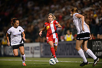 Western New York Flash midfielder McCall Zerboni (7). The Portland Thorns defeated the Western New York Flash 2-0 during the National Women's Soccer League (NWSL) finals at Sahlen's Stadium in Rochester, NY, on August 31, 2013.