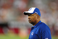 Sept. 27, 2009; Glendale, AZ, USA; Indianapolis Colts head coach Jim Caldwell against the Arizona Cardinals at University of Phoenix Stadium. Indianapolis defeated Arizona 31-10. Mandatory Credit: Mark J. Rebilas-