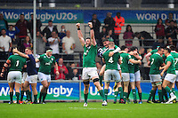 Sean O'Connor of Ireland U20 celebrates his team's historic win at the final whistle. World Rugby U20 Championship match between New Zealand U20 and Ireland U20 on June 11, 2016 at the Manchester City Academy Stadium in Manchester, England. Photo by: Patrick Khachfe / Onside Images
