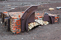 Ruined ovens are some of the remains left over from the Norwegian whaling station that operated on Deception Island in the South Shetland Islands, near the Antarctic Peninsula.