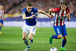 Jamie Vardy of Leicester City Football Club competes for the ball with Filipe Luis of Atletico de Madrid during the match of  Champions LEague between  Atletico de Madrid and LEicester City Football Club at Vicente Calderon  Stadium  in Madrid, Spain. April 12, 2017. (ALTERPHOTOS / Rodrigo Jimenez)