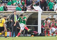 Pasadena, CA - Thursday June 09, 2016: Juan Carlos Osorio, Raul Jimenez during a Copa America Centenario Group C match between Mexico (MEX) and Jamaica (JAM) at Rose Bowl Stadium.