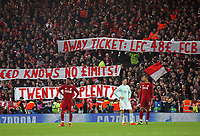 Bayern Munich fans display banners protesting at Liverpool ticket prices <br /> <br /> Photographer Rich Linley/CameraSport<br /> <br /> UEFA Champions League Round of 16 First Leg - Liverpool and Bayern Munich - Tuesday 19th February 2019 - Anfield - Liverpool<br />  <br /> World Copyright © 2018 CameraSport. All rights reserved. 43 Linden Ave. Countesthorpe. Leicester. England. LE8 5PG - Tel: +44 (0) 116 277 4147 - admin@camerasport.com - www.camerasport.com