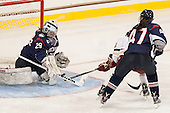 Elaine Chuli (UConn - 29), Dana Trivigno (BC - 8), Jaime Fox (UConn - 47) - The Boston College Eagles defeated the visiting UConn Huskies 4-0 on Friday, October 30, 2015, at Kelley Rink in Conte Forum in Chestnut Hill, Massachusetts.