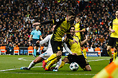 6th December 2017, Santiago Bernabeu, Madrid, Spain; UEFA Champions League football, Real Madrid versus Dortmund; Christian Pulisic Borussia Dortmund wins the ball from Francisco Roman Alarcon (22) Real Madrid with help from Nuri Sahin (8) Borussia Dortmund