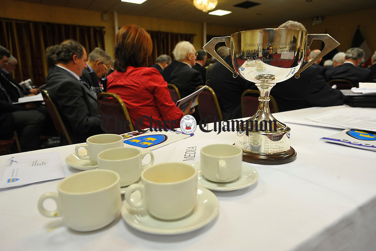 A different kind of cup, Corn na nGairmscoileanna,  on display at the Munster Council meeting in the West County Hotel. Photograph by John Kelly.