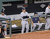 New York Yankees manager Joe Girardi (28) watches game action from the dugout against the Baltimore Orioles at Oriole Park at Camden Yards in Baltimore, Maryland on Monday, May 20, 2013.  The Yankees won the game 6 - 4..Credit: Ron Sachs / CNP.(RESTRICTION: NO New York or New Jersey Newspapers or newspapers within a 75 mile radius of New York City)