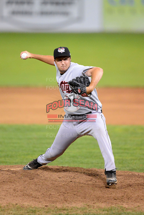 Tri-City ValleyCats pitcher Pat Christensen (37) during a game against the Batavia Muckdogs on July 13, 2013 at Dwyer Stadium in Batavia, New York.  Tri-City defeated Batavia 5-4.  (Mike Janes/Four Seam Images)