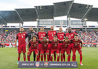 Commerce City, CO - Thursday June 08, 2017: USMNT Starting XI during a 2018 FIFA World Cup Qualifying Final Round match between the men's national teams of the United States (USA) and Trinidad and Tobago (TRI) at Dick's Sporting Goods Park.