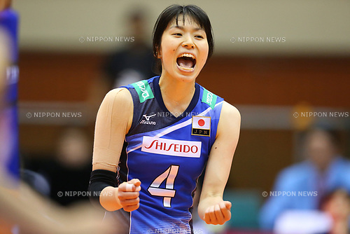 Risa Shinnabe (JPN), <br /> JULY 16, 2017 - Volleyball : FIVB Volleyball World Grand Prix SENDAI 2017 match between <br /> Brazil 2-3 Japan  <br /> at Kamei Arena Sendai, in Sendai, Japan. <br /> (Photo by Sho Tamura/AFLO)