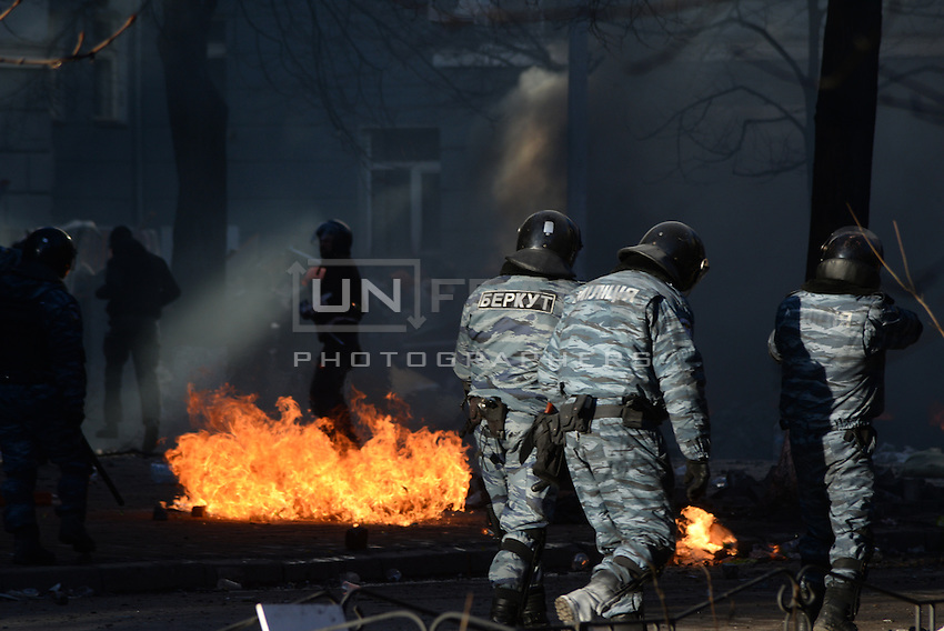 Berkut riot police patrolling the Maidan Square. Kiev, Ukraine