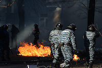 Berkut riot police patrolling the Maidan Square. Kiev, Ukraine