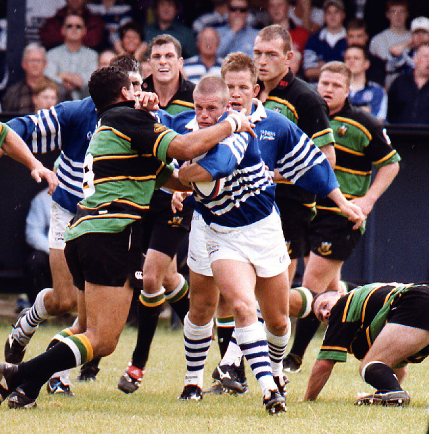 Photo: Mike Brett.Sale v Northampton..Sale centre Mel Deane battles with Pat Lam(left)