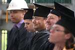 Bachelor of Technology graduates, from left, Victor Mejorado, Sean Miller, Gonzalo Melendez and Michael Fitzgerald listent to the 45th annual Western Nevada College Commencement ceremony in Carson City, Nev., on Monday, May 23, 2016. A record 556 graduates received 598 degrees.<br />