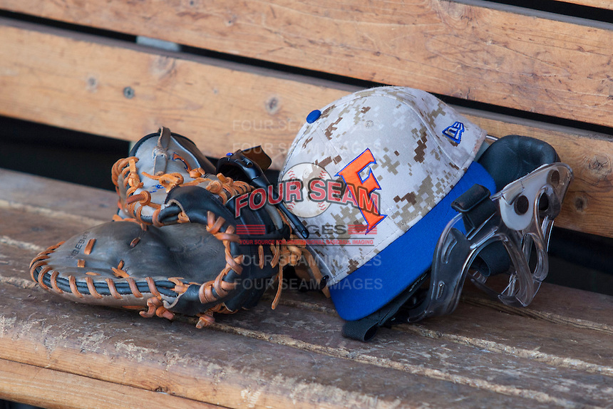 Florida Gators hat before Game 13 of the NCAA College World Series on June 20, 2015 at TD Ameritrade Park in Omaha, Nebraska. (Andrew Woolley/Four Seam Images)