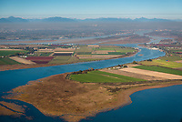 The mouth of the Fraser River adjacent the proposed Trans Mountain Pipeline tanker route and overlooking Ladner and Westham Island and the Alsek National Wildlife Area.