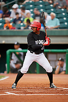 Chattanooga Lookouts right fielder Edgar Corcino (21) at bat during a game against the Jackson Generals on May 9, 2018 at AT&T Field in Chattanooga, Tennessee.  Chattanooga defeated Jackson 4-2.  (Mike Janes/Four Seam Images)