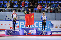 "SHORT TRACK: MOSCOW: Speed Skating Centre ""Krylatskoe"", 14-03-2015, ISU World Short Track Speed Skating Championships 2015, Podium Ladies 500m, Elise CHRISTIE (GBR), Kexin FAN (CHN), Arianna FONTANA (ITA), ©photo Martin de Jong"