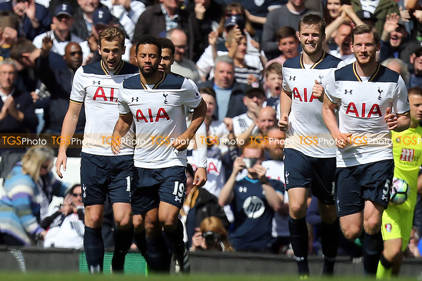 Harry Kane of Tottenham Hotspur is congratulated after scoring the third goal during Tottenham Hotspur vs AFC Bournemouth, Premier League Football at White Hart Lane on 15th April 2017