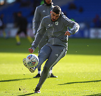 29th February 2020; Cardiff City Stadium, Cardiff, Glamorgan, Wales; English Championship Football, Cardiff City versus Brentford; Callum Paterson of Cardiff City takes a shot during warm up