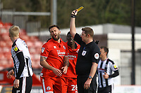 Ollie Palmer of Crawley Town receives a yellow card from Referee Brett Huxtable during Crawley Town vs Grimsby Town, Sky Bet EFL League 2 Football at Broadfield Stadium on 9th March 2019