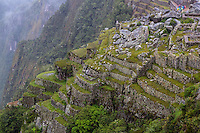 Peru, Machu Picchu.  Rock Quarry and Terraced Hillside.